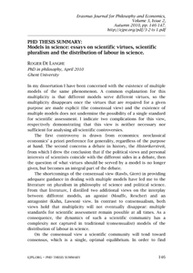 Models In Science Essays On Scientific Virtues Scientific  Models In Science Essays On Scientific Virtues Scientific Pluralism And  The Distribution Of Labour In Science Phd Thesis Summary