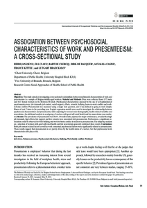 Association Between Psychosocial Characteristics Of Work And Presenteeism A Cross Sectional Study